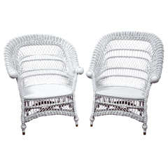 Antique Victorian Wicker Rolled-Arm Chairs