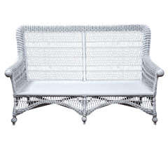 Victorian Wicker Rolled-Arm Sofa