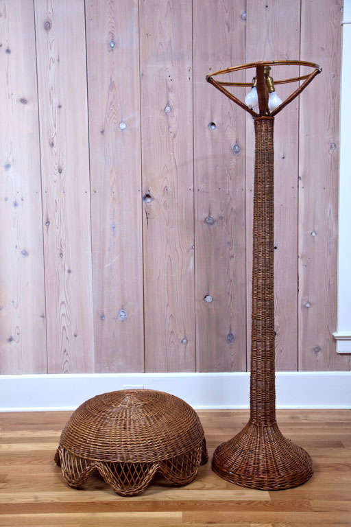 Antique Willow Wicker And Rattan Floor Lamp At 1stdibs