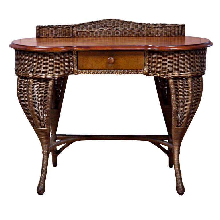 Antique Art Deco Wicker Desk 1 - Antique Art Deco Wicker Desk At 1stdibs