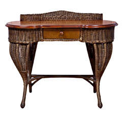Antique Art Deco Wicker Desk