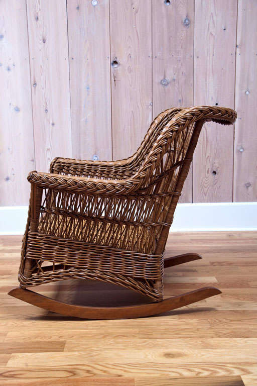 American Heywood Wakefield Wicker Rocker For Sale & Heywood Wakefield Wicker Rocker at 1stdibs