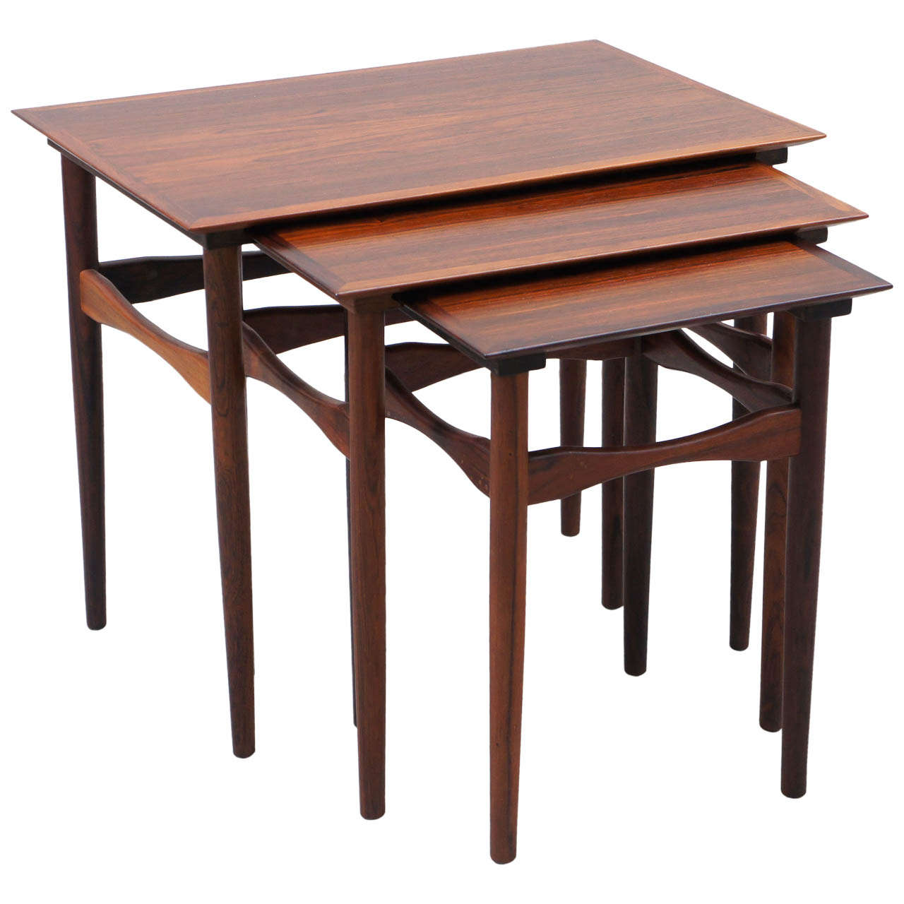 Exceptional Mid Century Danish Rosewood Nesting Tables 1