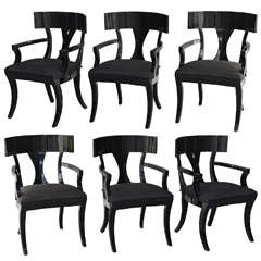 Set of Six Black Lacquer Klismos Armchairs, Manner of Robsjohn-Gibbings