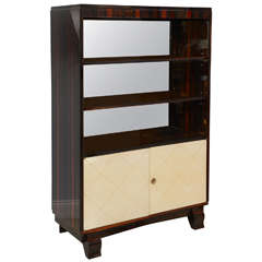 Art Deco Ebony De Macassar and Parchment Bookcase, Jean Pascaud