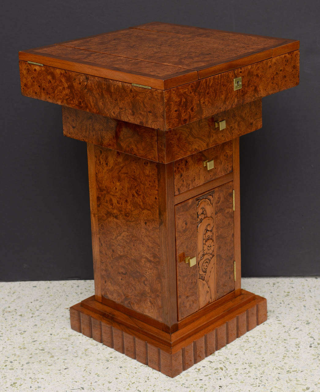French Art Deco Burled Walnut and Walnut Work Table In Excellent Condition For Sale In Miami, FL