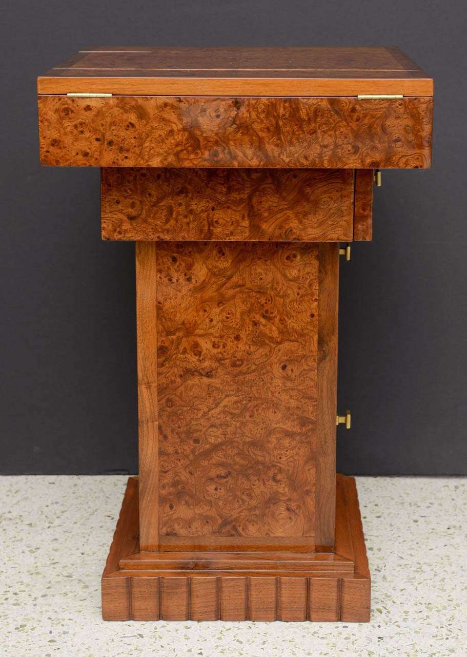 Mid-20th Century French Art Deco Burled Walnut and Walnut Work Table For Sale