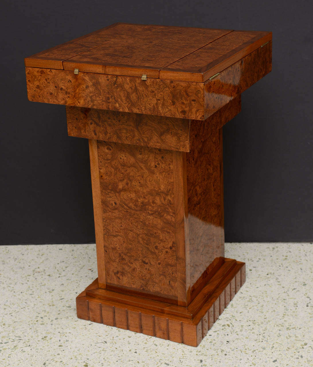 French Art Deco Burled Walnut and Walnut Work Table For Sale 1