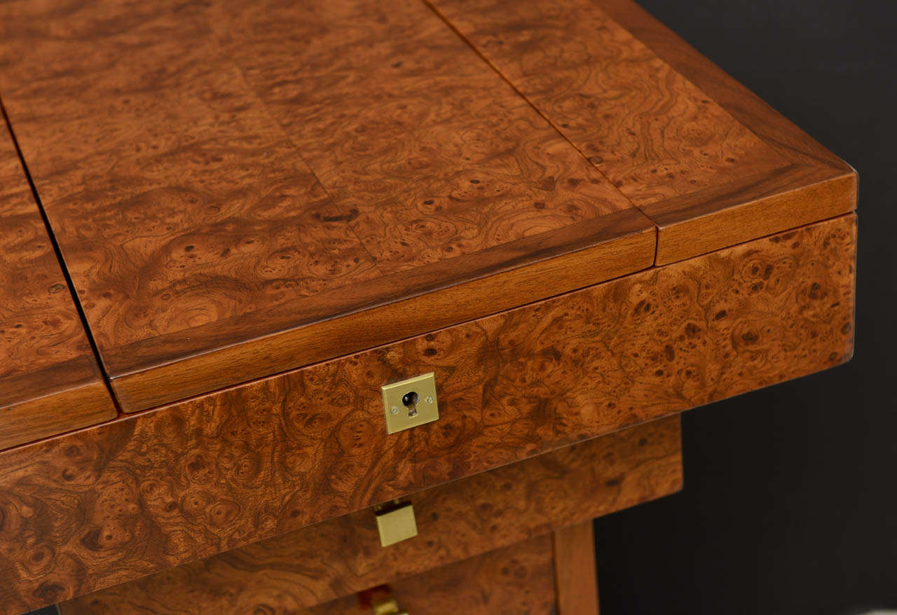 French Art Deco Burled Walnut and Walnut Work Table For Sale 5