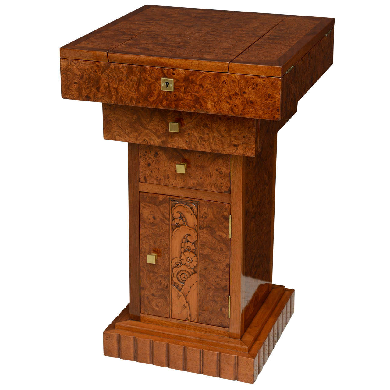 French Art Deco Burled Walnut and Walnut Work Table For Sale