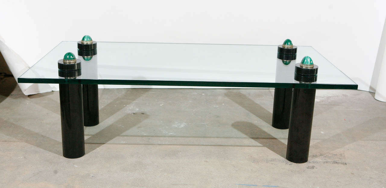 Anthony Redmile coffee table with malachite and patinated metal legs.