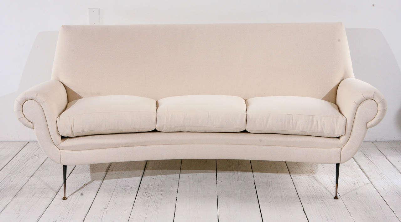 Mid Century Italian Curved Back Sofa At 1stdibs