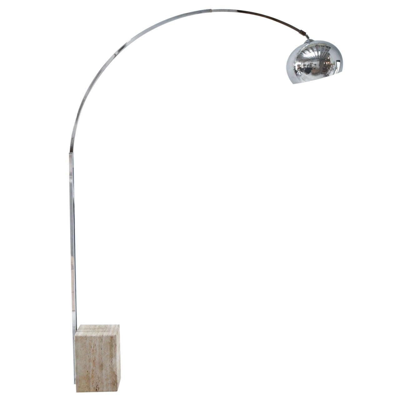 Marble Base Chrome Arc Lamp At 1stdibs