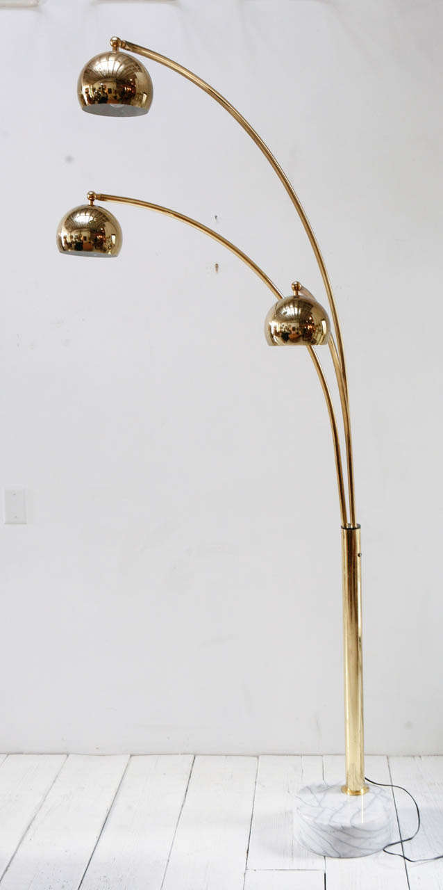 Vintage Brass And Marble Three Arm Arc Floor Lamp At 1stdibs