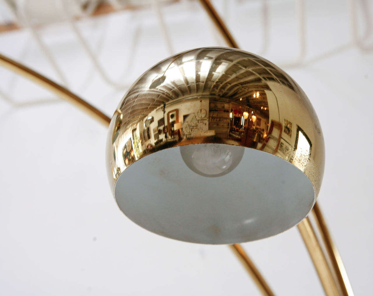 vintage brass and marble three arm arc floor lamp at 1stdibs. Black Bedroom Furniture Sets. Home Design Ideas