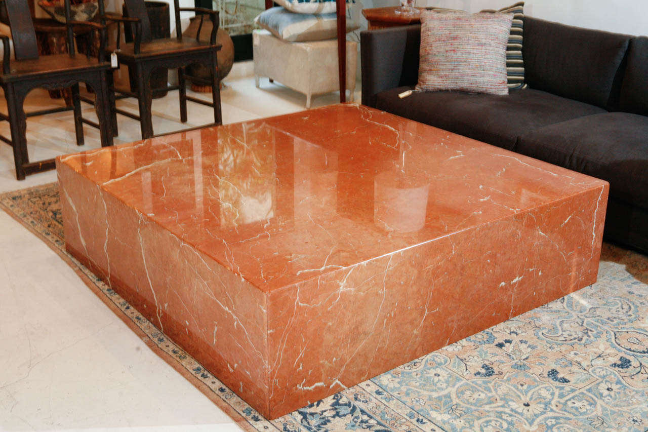 Very large terracotta marble square coffee table at 1stdibs Large square coffee table