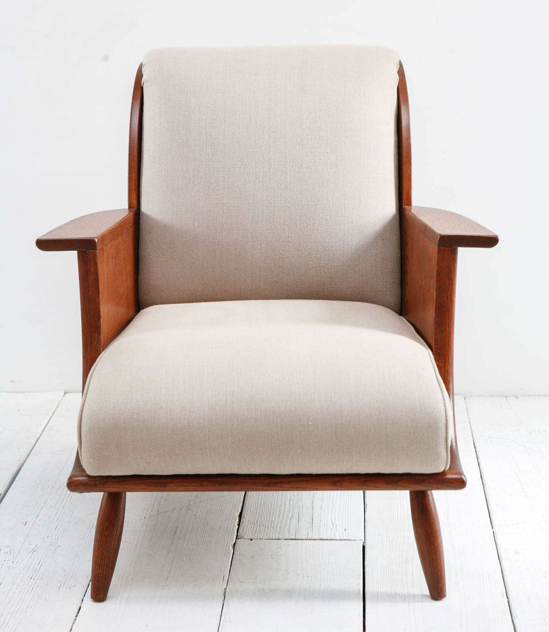 Mid-Century Teak And Linen Arm Chairs At 1stdibs