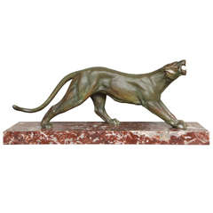 Art Deco Bronze Panther by J. Davergne