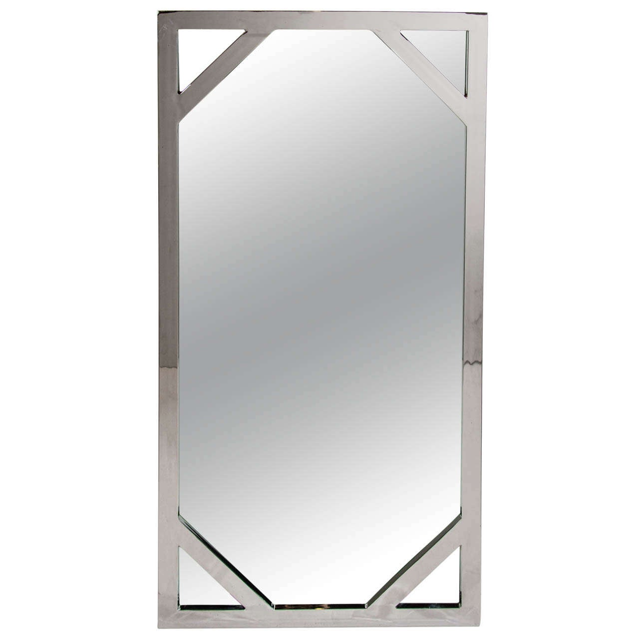 Mid century modern polished chrome tall mirror with for Tall mirrors for sale