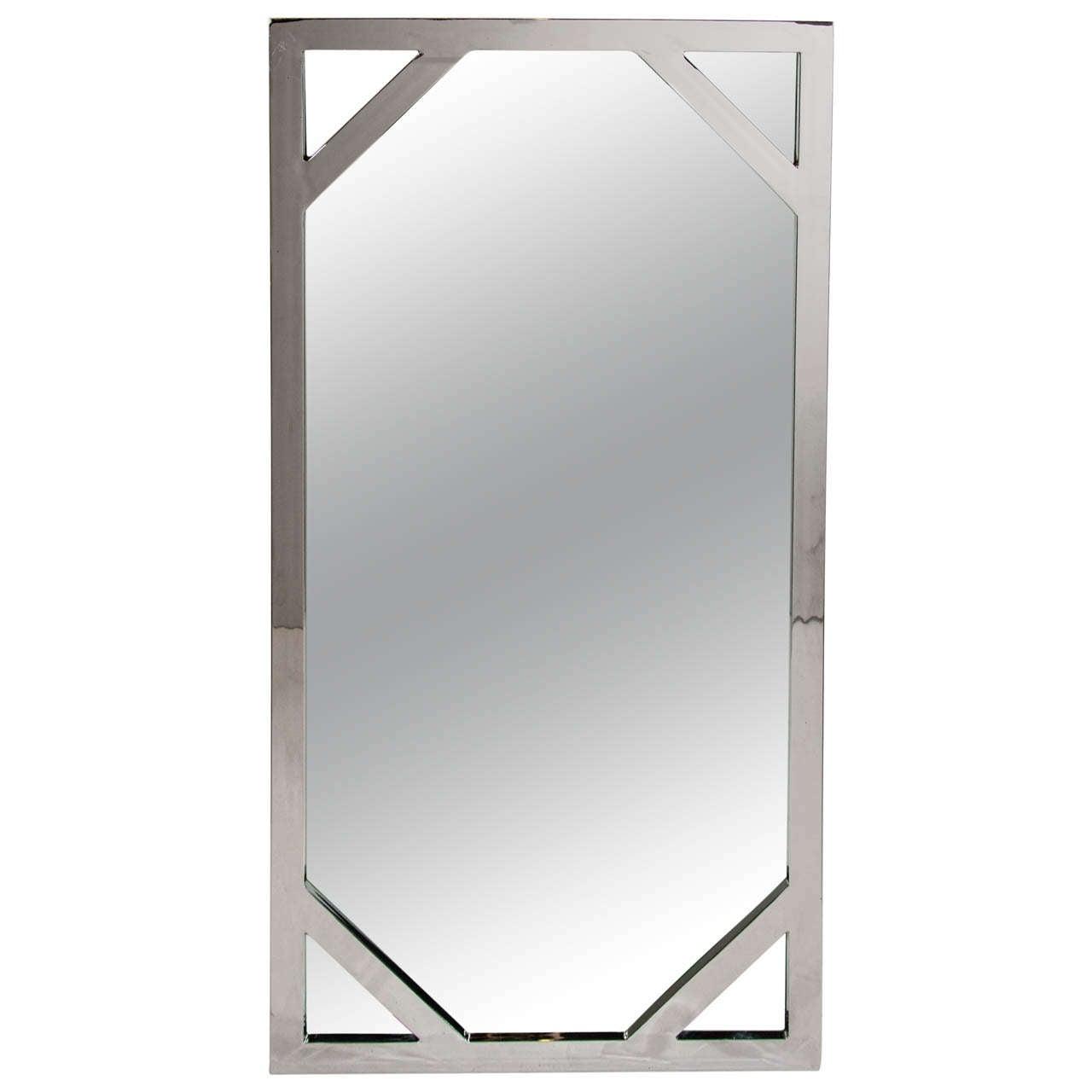 Mid-Century Modern Chromed Mirror Attributed to Milo Baughman