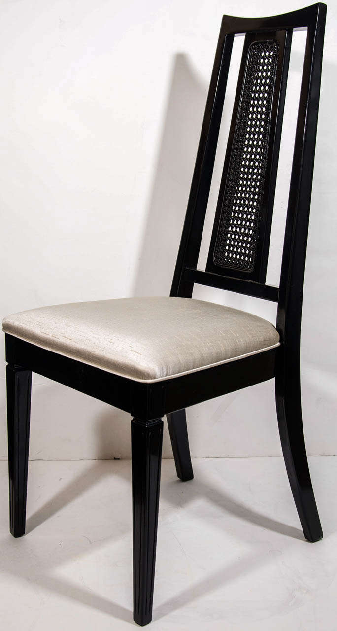 Set/ 4 Mid-Century Modern Cane Back Dining Chairs Attributed to John Stuart In Excellent Condition For Sale In Stamford, CT