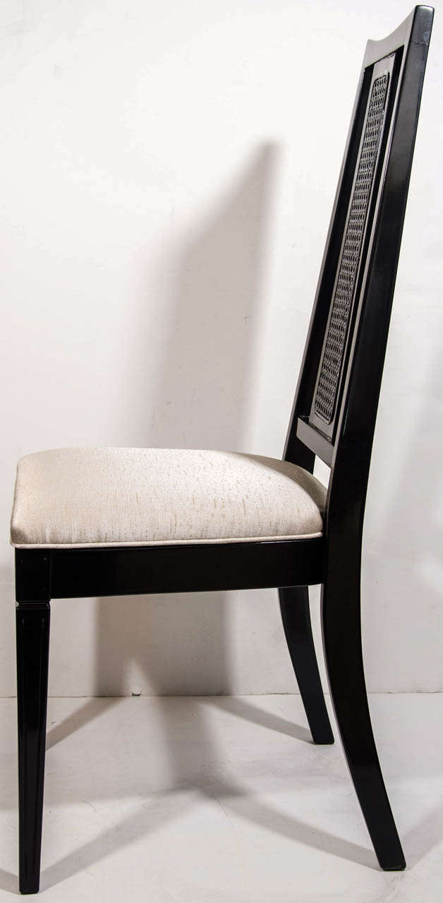 Silk Set/ 4 Mid-Century Modern Cane Back Dining Chairs Attributed to John Stuart For Sale