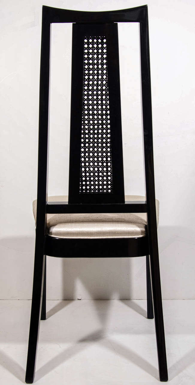 Set/ 4 Mid-Century Modern Cane Back Dining Chairs Attributed to John Stuart For Sale 1