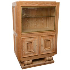 Art Deco illuminated Cerused Oak Display Cabinet Attributed to JC Moreux