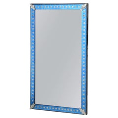 Blue Glass Frame Midcentury Mirror with Silver Dots All Around