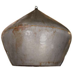 Large Distressed Enamel on Copper Drum Pendant Light
