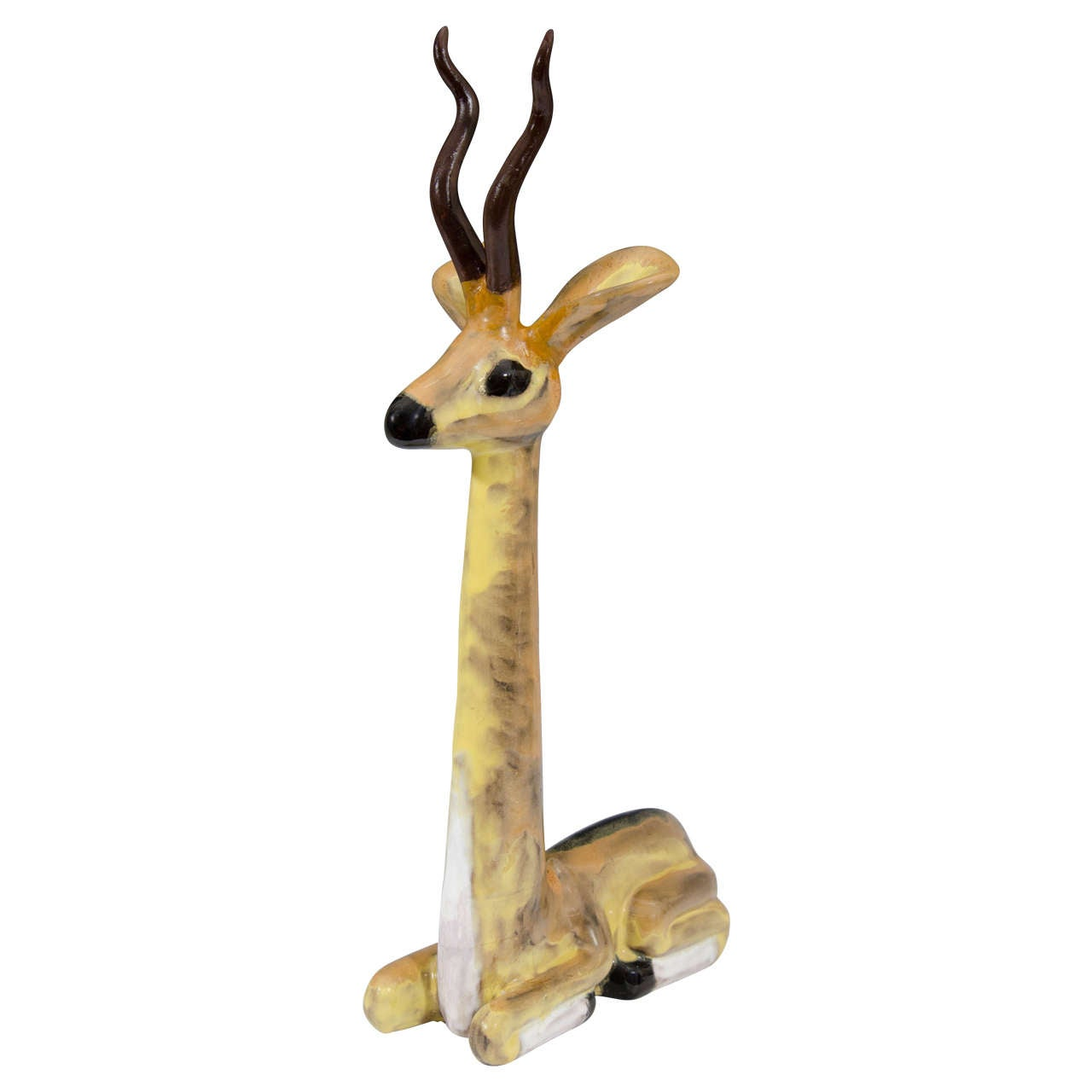 A Midcentury Ceramic Sculpture of a Seated Antelope