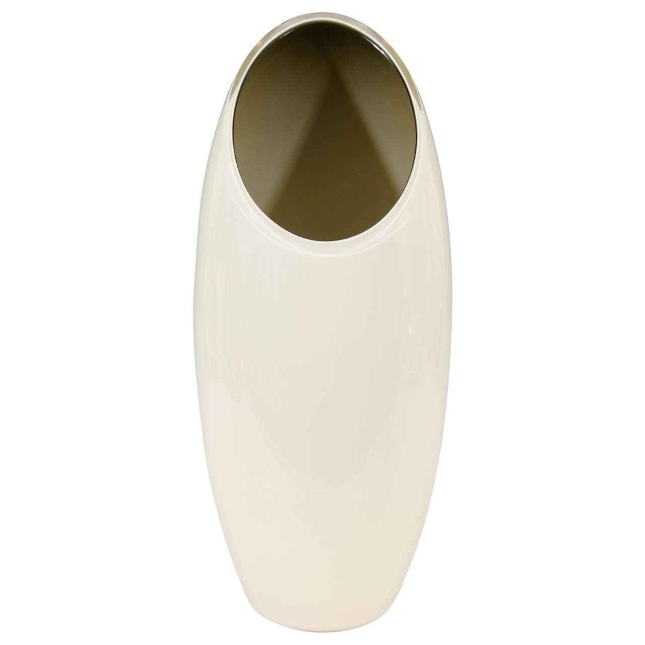 Midcentury Seguso Off-White Tall Vase