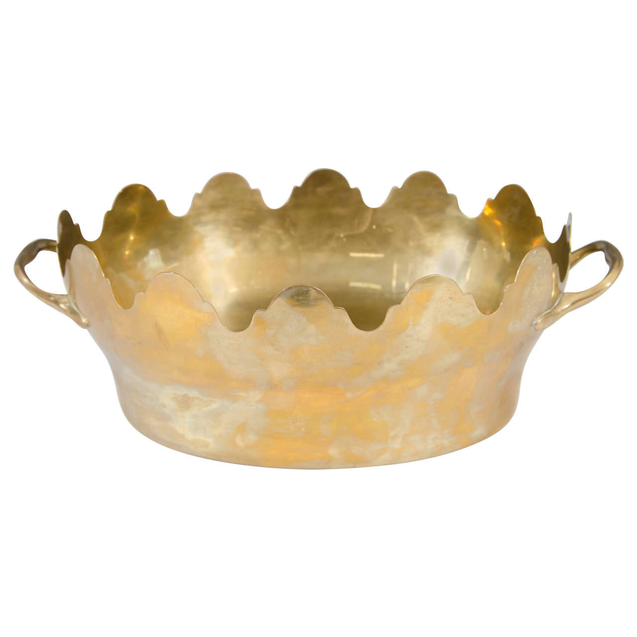 Vintage Italian Brass Oval Centerpiece or Rafraichissoir For Sale