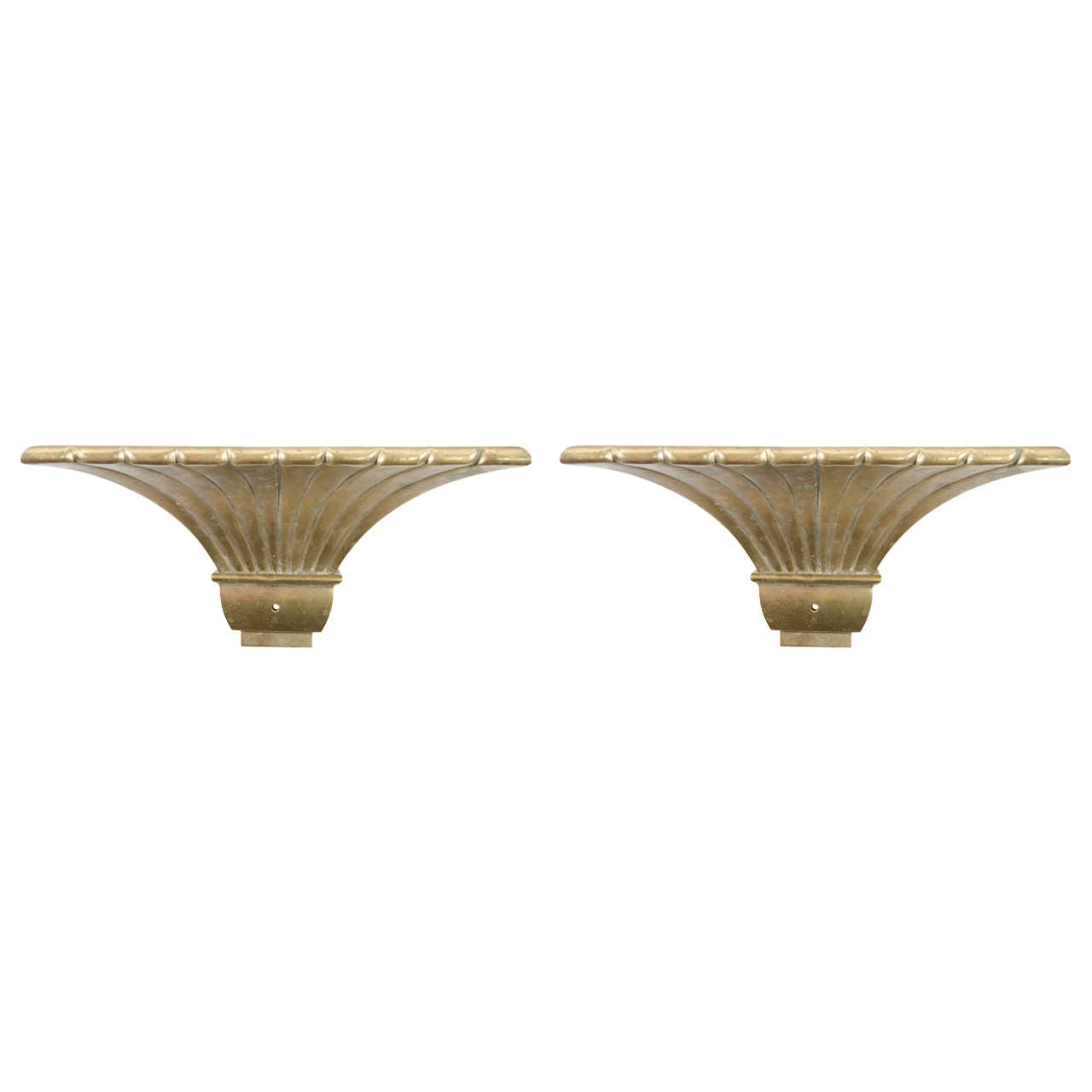 Chapman Brass Wall Sconces : Midcentury Pair of Brass Fluted Sconces in the Manner of Chapman For Sale at 1stdibs