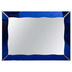 Art Deco Cobalt Blue Wall Mirror with Etched Border