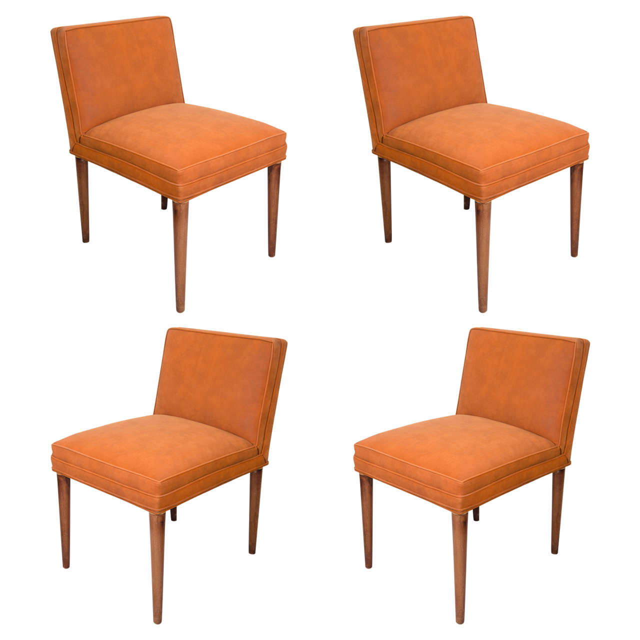 midcentury set of four rust colored tommi parzinger dining chairs at