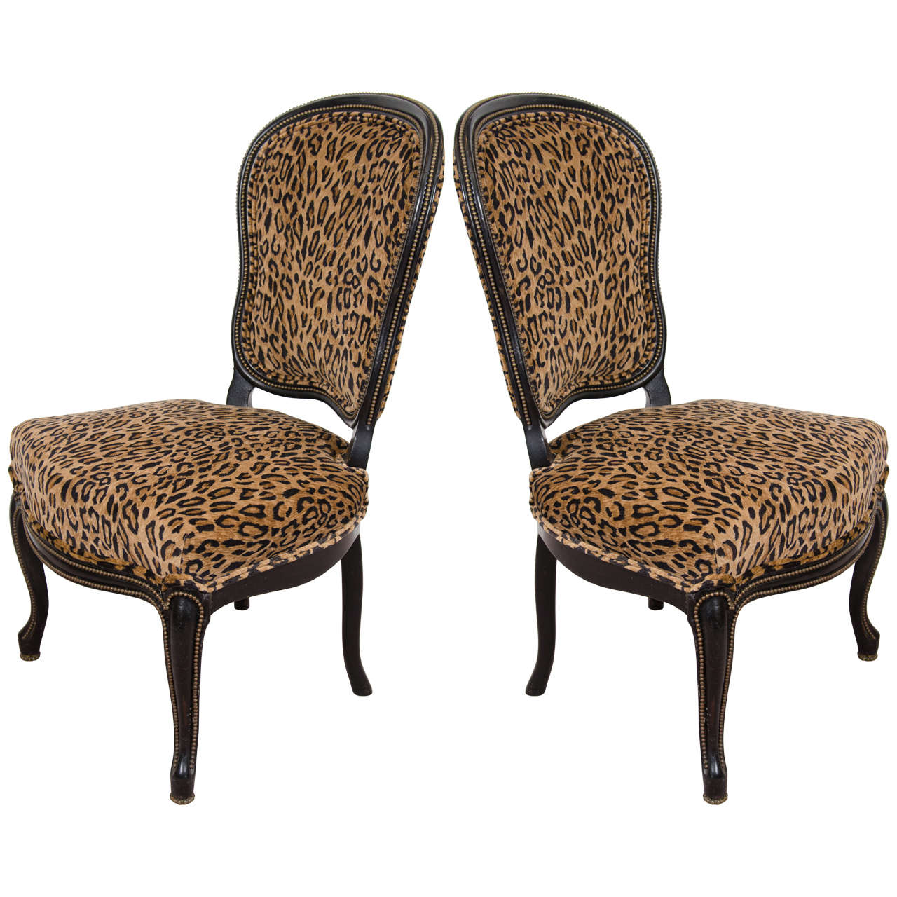 Pair Of Antique Ebonized Side Chairs With Velvet Leopard Print Upholstery At 1stdibs