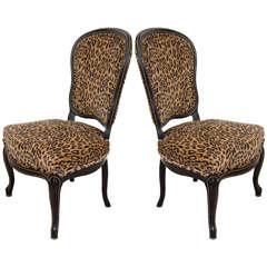 Pair of Antique Ebonized Slipper Chairs with Velvet Leopard Print Upholstery