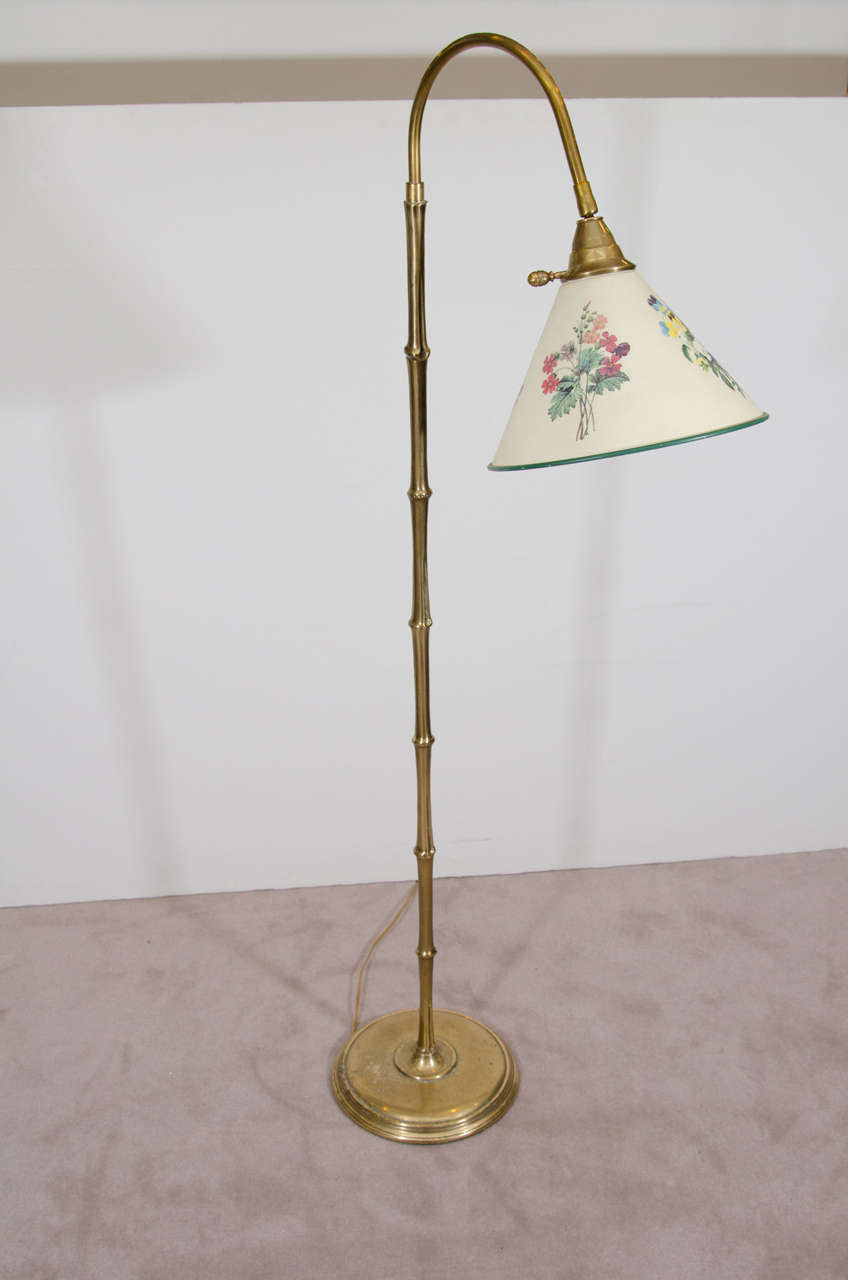 Vintage Brass Bamboo Reading Floor Lamp In The Style Of