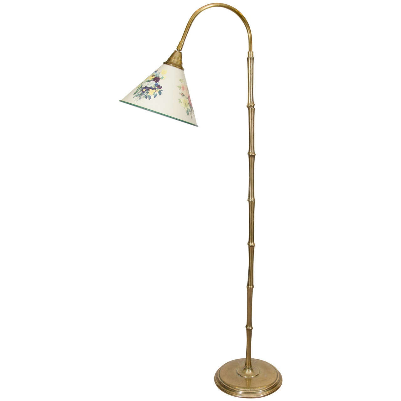 vintage brass bamboo floor lamp in the style of maison bagues at. Black Bedroom Furniture Sets. Home Design Ideas