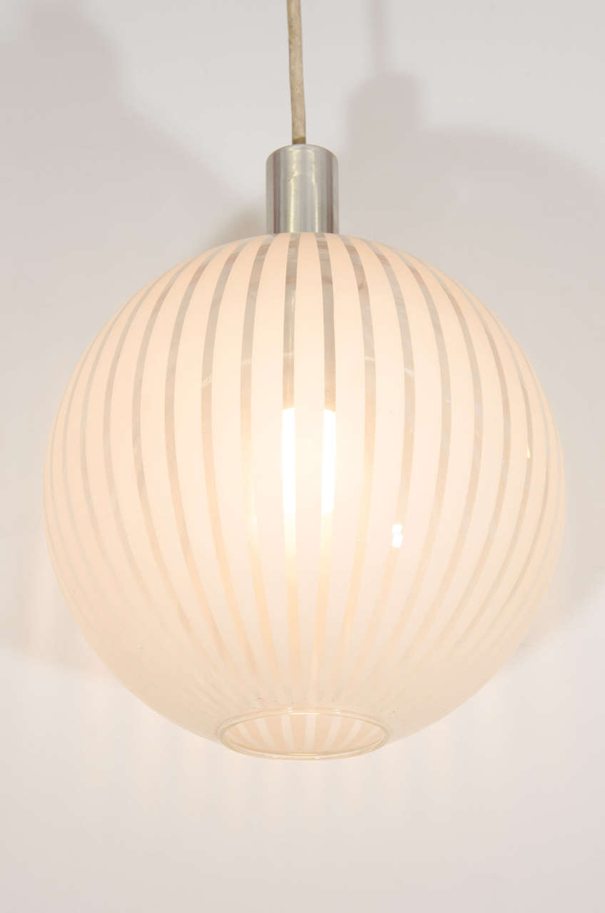 An italian midcentury clear glass globe pendant with white for Mid century modern globe pendant light