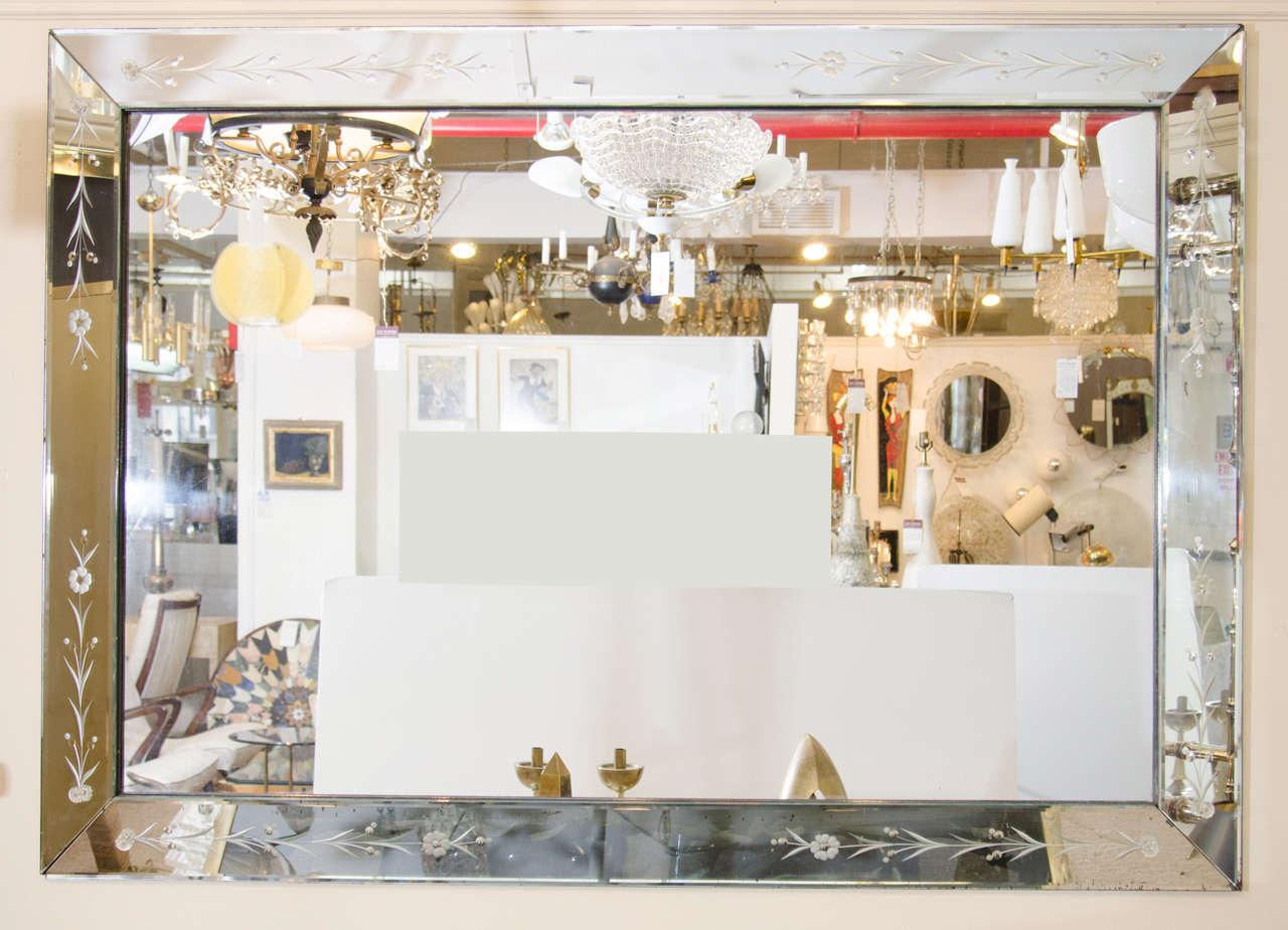 Hollywood Regency Large Italian Venetian Wall Mirror, circa 1940s For Sale