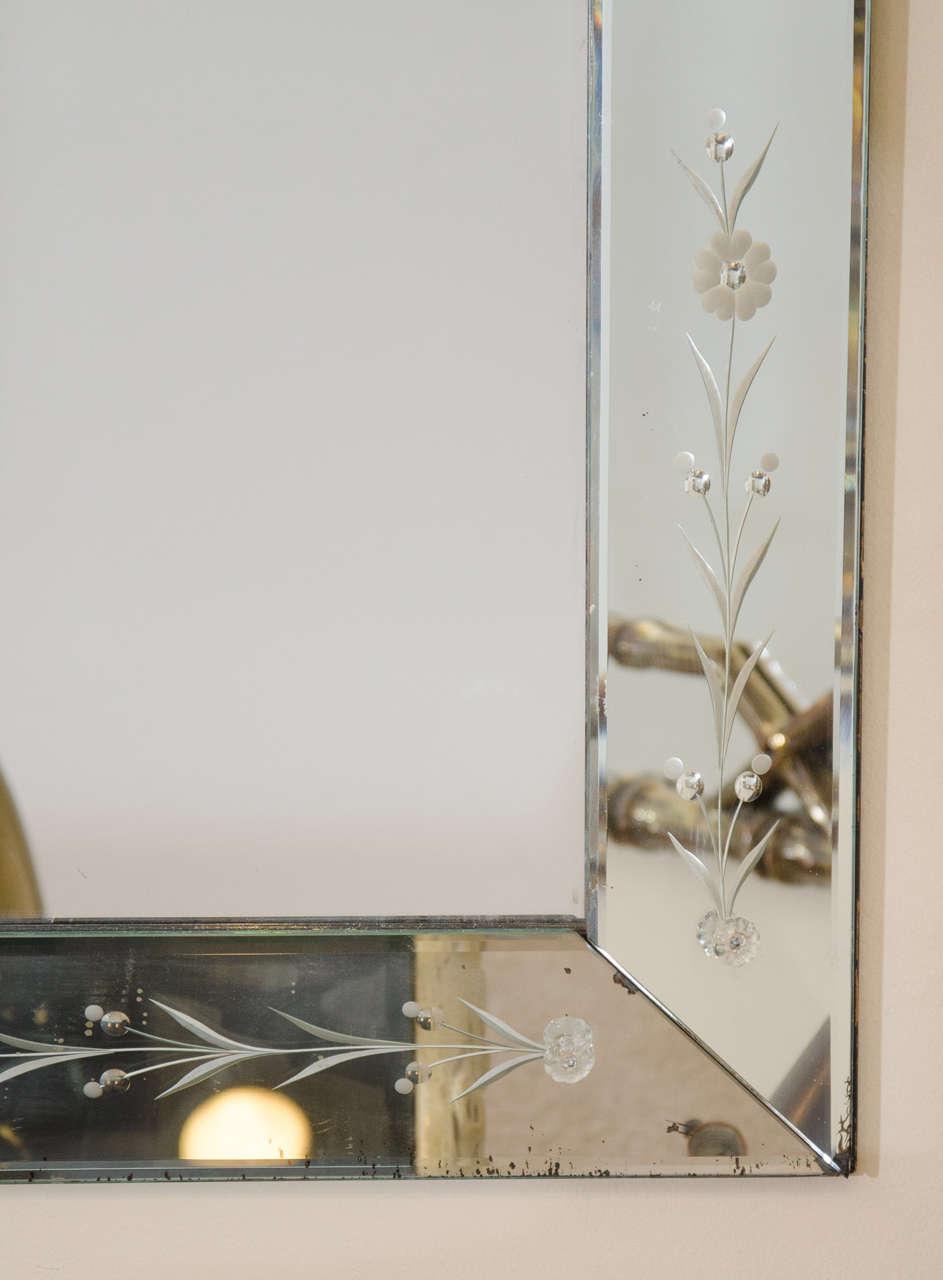 Beveled Large Italian Venetian Wall Mirror, circa 1940s For Sale