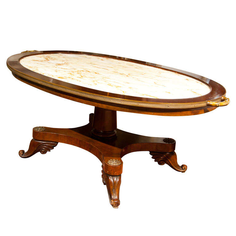 French Mahogany Marble Top Coffee Table By Jansen For Sale