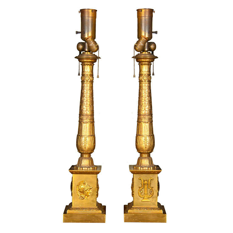 pair of brass table lamps at 1stdibs