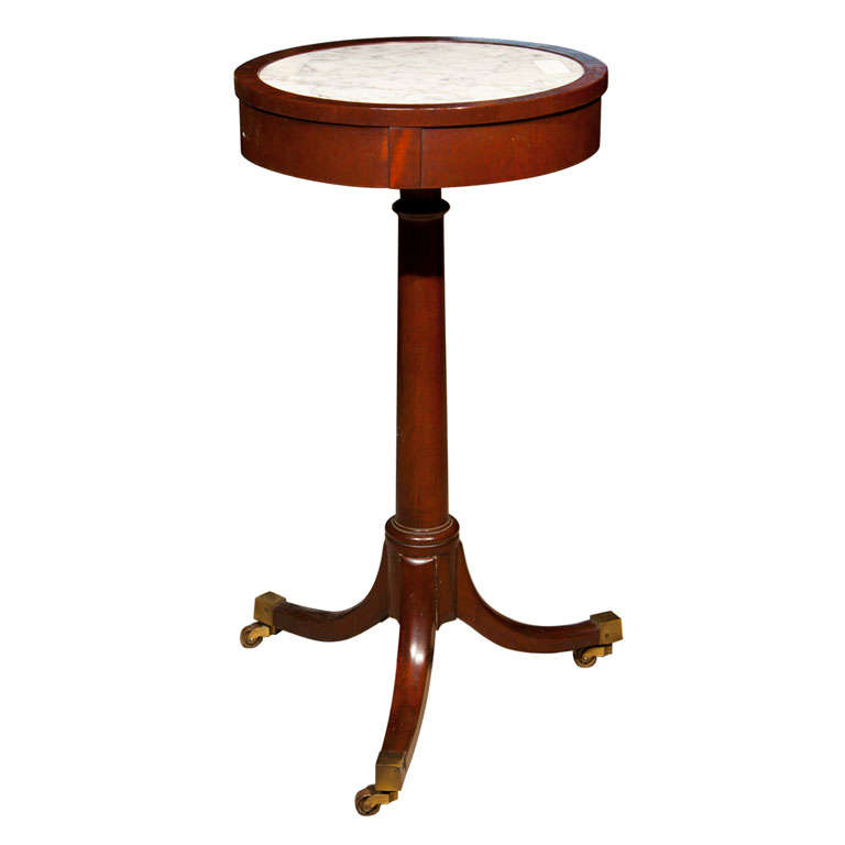 Mahogany Marble-Top Side Table