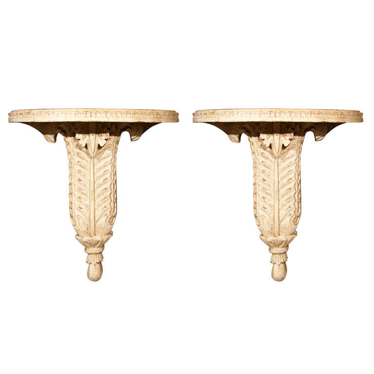 Pair of Plaster Wall Brackets by Jansen