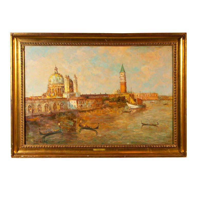 Oil Painting of Venice Harbor by T L Novaretti