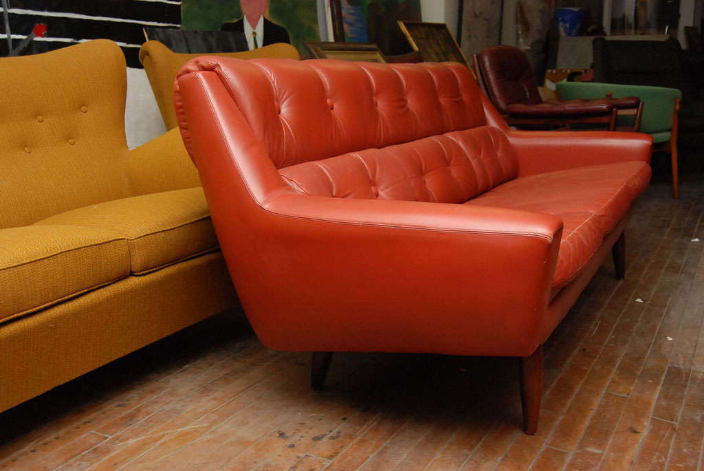 Orange Red Leather Couch At 1stdibs