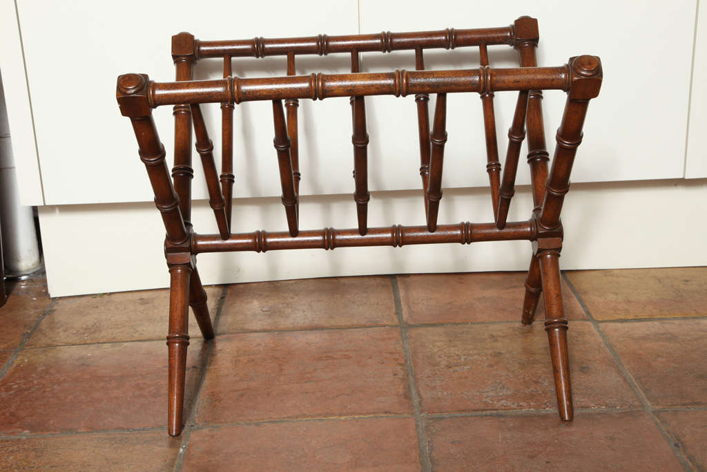 British English Neoclassical Antique Cherry Wood Magazine Rack For Sale